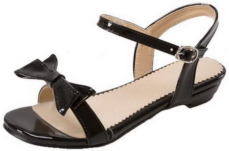 AmoonyFashion Women's Buckle Low-Heels Pu Solid Open-Toe Sandals, BUTLT007986