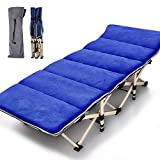 Folding Cot Camping Cot, Folding Camping Bed Outdoor Portable Military Cot, Double Layer Oxford Strong Heavy Duty Wide Sleeping Cots with Carry Bag for Indoor & Outdoor Use (Blue with Cotton Mat)