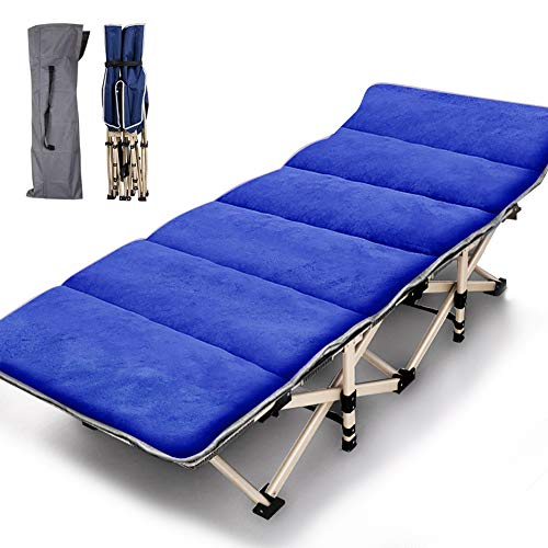 Folding Camping Cots for Adults Heavy Duty cot with Carry Bag, Portable Sleeping Bed for Camp Office Use Outdoor Cot Bed for Traveling (Blue cot with Mattress)