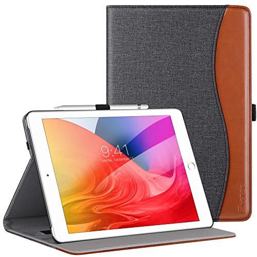 Ztotop iPad 8 ケース2020 iPad 10.2 ケース第8世代(2020) iPad 10.2 ケース第7世代(2019) 高級PUレザー製 ペンシル収納 オートスリープ機能 ポケット付き 手帳型 全面保護 iPad 10.2専用スマートケース(デニム、ブラック)