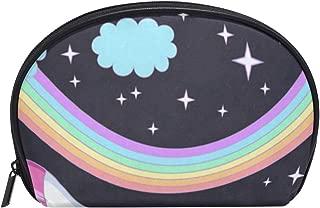 Small Shell Cosmetic Beauty Bag Twinkle Rainbow Unicorn Half Moon Travel Handy Organizer Clutch Pouch
