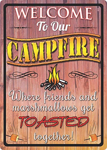 River's Edge Products Welcome to Our Campfire Tin Sign