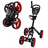 Caddymatic Golf Quad 4-Wheel Folding Golf Pull/Push Cart Black/Red