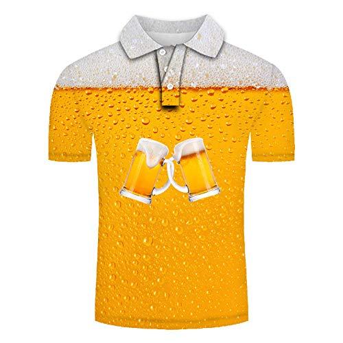 Polo Uomo 3D Stampa Manica Corta, T-Shirt Casual Classico Divertenti Estiva Magliette Comodo Traspirante, La Birra Toast,L