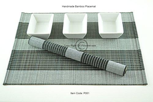 vnhomeware 6 Sets de Table, Sets de Table Fait Main en Bambou, Lot de 6, Blanc/Noir, P036