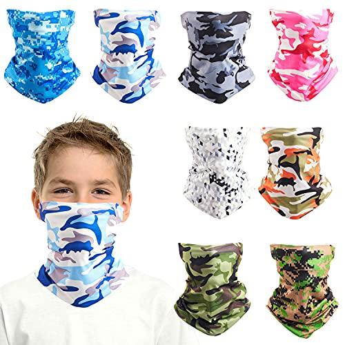 8 PCS Kids Face Mask Neck Gaiters Full-Coverage Bandanas Headband Tube Neck for Boys Girls