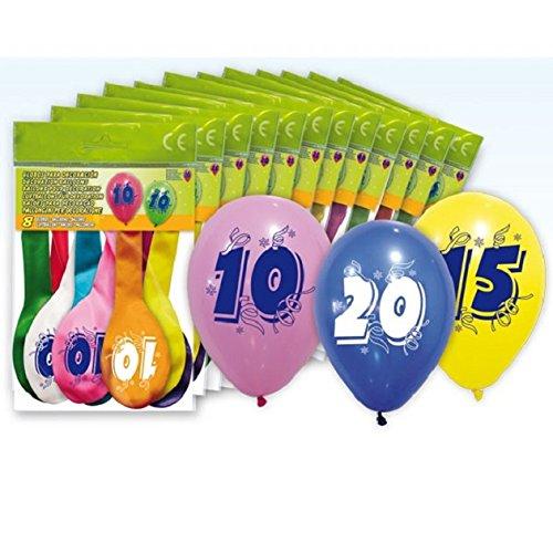 Lot 8 Ballons MULTICOLORE 80 ans Baudruche 32cm Anniversaire - 5206-80
