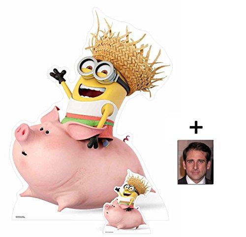 Fan Pack - Dave Minion Riding a Pig Despicable Me 3 / Ich Einfach unverbesserlic 3 Minions Lebensgrosse und klein Pappaufsteller - mit 25cm x 20cm foto