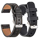 Galaxy Watch 46mm Bands, Gear S3 Bands 2 Pack, Compatible with Samsung Gear S3 Frontier Classic Width 22mm Watch Band Leather, for Galaxy Watch 46mm Band Men Women Smart Straps (Black)
