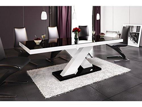 H MEUBLE Table A Manger Design Extensible 160÷210 CM X P : 89 CM X H: 75 CM – Noir/Blanc