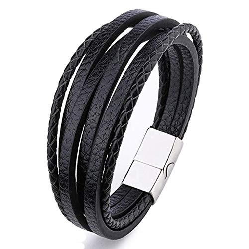 Mega_JumbleSale Mens Braided Leather Bracelet | Cuff Wrap Bracelet Brown & Black Multi-Layer Magnetic Clasp Rope Wristband Men Jewellery | Great Gift Idea (Black)