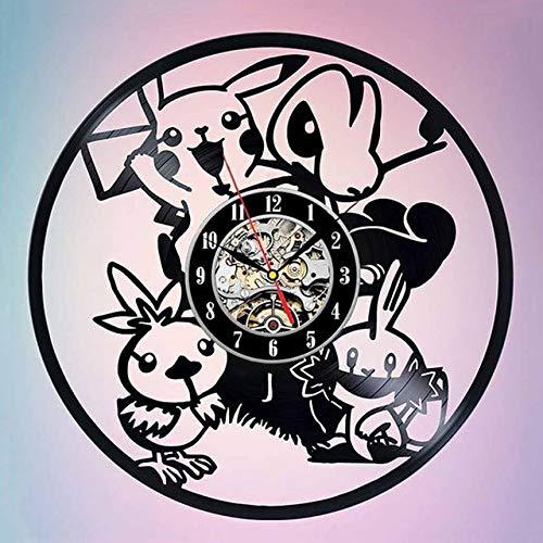 BVGA Pokemon reloj de pared de diseño moderno decorativo habitación de los niños dibujos animados Pikachu vintage vinilo récord relojes de pared reloj decoración del hogar 18