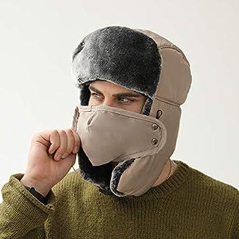 Ushanka Ear Flap Ski Hats Warm Face Mask Unisex Trapper Hat Cold Weather Hat