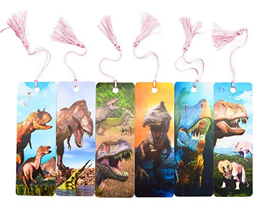 Dinosaur Bookmarks with Tassel and 3D Effect (6 Designs, 12 Pack)