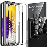 LK Compatible con Samsung Galaxy A72 4G/5G Protector de Pantalla,2 Pack Cristal Templado y 2 Pack Protector de Lente de cámara, Doble protección, Kit de Instalación Incluido