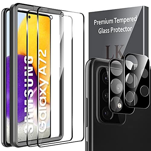 LK Compatibile con Samsung Galaxy A72 4G 5G Pellicola Protettiva, 2 Pezzi Vetro Temperato e 2 Pezzi Protezione Nero Fotocamera Protezione Schermo Pellicola, Strumento Una Facile Installazione