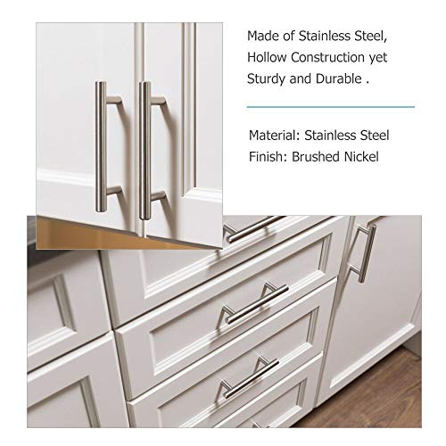 homdiy Cabinet Pulls Brushed Nickel 5 Pack Brushed Nickel Cabinet Handles 5in Hole Center - HD201SN Bathroom Cabinet Hardware Pulls Brushed Nickel Metal Drawer Pulls for Kitchen, Closet, Wardrobe