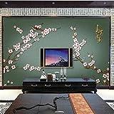 XUNZHAOYH Papier Peint 3D,Papier Peint Personnalisé Murale 3D Langue D'Oiseauxprune Stylo Floral Fond Chinois Papier Peint Décoration Murale Papier Peint 3D,500(W) X320Cm(H)(16.5X10.6) Ft