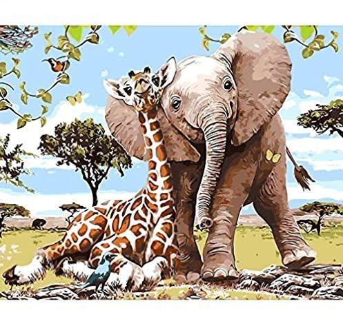 SoulSpaze - Pintura para Pared con diseño de Elefante sin Marco, diseño de Jirafa