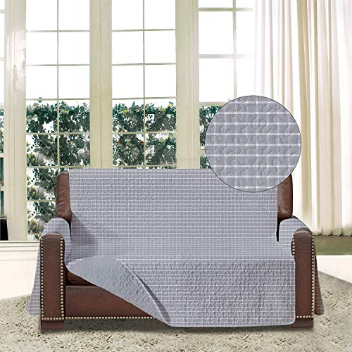 Copridivano stampato reversibile con tasche, protezione per divano per 2 cuscini, con cinghie elastiche e cravatte, per animali domestici, bambini, cane, gatto, (amorevole, plaid/grigio)