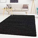 ayshaggy Shaggy Teppich Hochflor Langflor Einfarbig Uni Schwarz Weich Flauschig Wohnzimmer, Größe: Läufer 60 x 110 cm