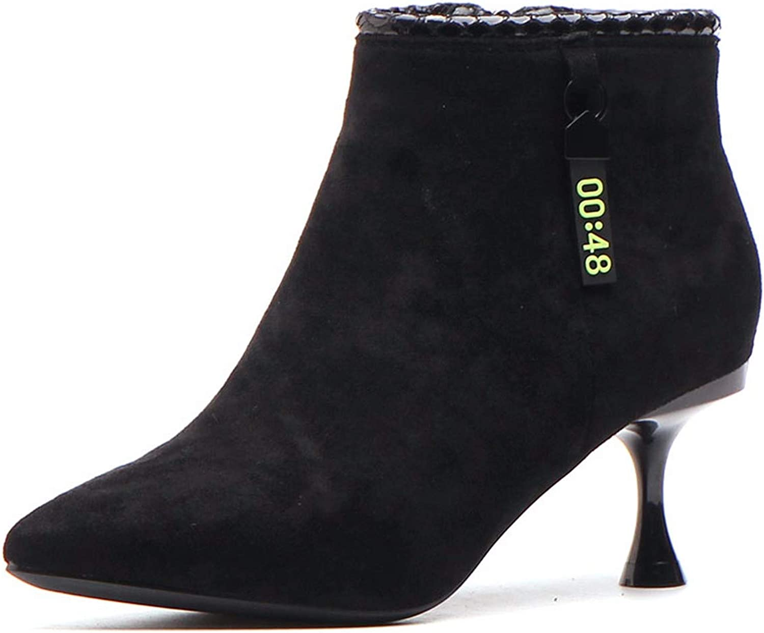 SFSYDDY Popular shoes Black Martin Boots with High 6Cm Thin Heel Small Heel Wild Short Retro Short Boots.
