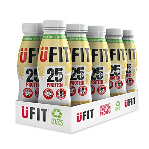 Ufit High 25g Protein Shake, No Added Sugar, Fat Free, Banana Flavour Ready to Drink, Pack of 10 x 330 ml