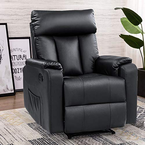 REFICCER Heat and Massage Recliner Chair, 350 LB Overstuffed Single Seat Sofa Chair with Storage Pockets Furniture for Home Living Room, Black