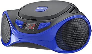 Sylvania Portable Bluetooth Cd Player AM/FM Radio Tuner Mega Bass Reflex Stereo Sound System Plus Cube Cable 6ft Aux Cable to Connect Any iPod, iPhone or Mp3 Digital Audio Player
