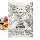 20 tarjetas de invitaciones de boda cortadas con láser con