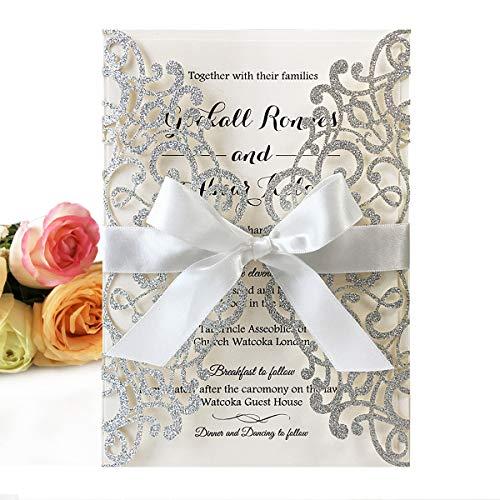 20 tarjetas de invitación de boda cortadas con láser con cintas y sobres para invitaciones de graduación de cumpleaños de compromiso de despedida de soltera (brillo plateado)
