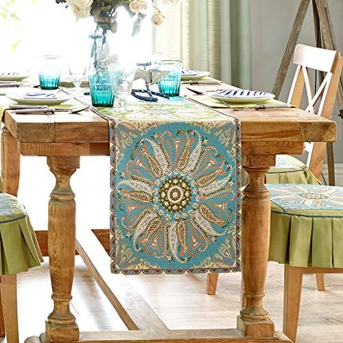 Chemin De Table Rectangle Naturel Fait Main Hemstitched Naturel Fleur De Soleil Rouge Chemin De Table Vacances De Thanksgiving Long (Color : Green, Size : 36 * 240cm)