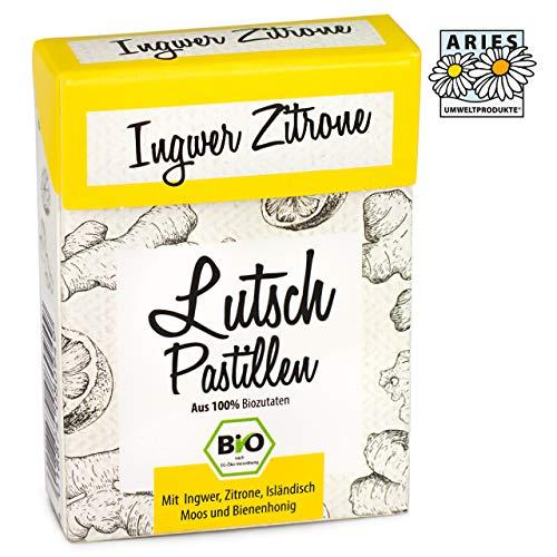 ARIES BIO Ingwer-Zitrone Lutschpastillen – Halsbonbons mit Isländisch Moos Extrakt, Bienenhonig und Bio Ingweröl– 30g