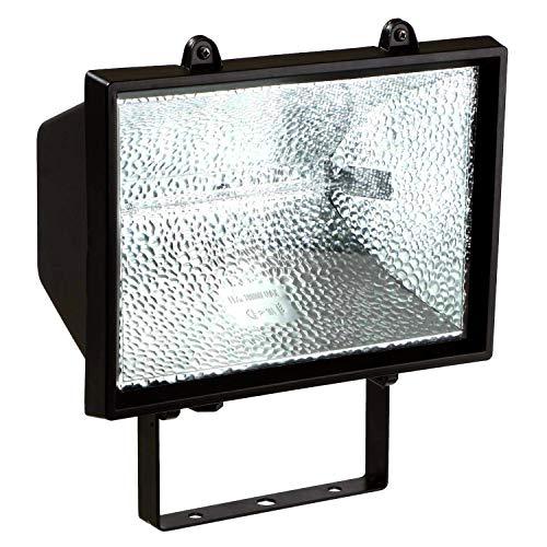 as - Schwabe Halogenstrahler - 1000 W Halogen-Fluter geeignet als Baustrahler / Arbeitsleuchte – Energieklasse E - Halogenspot inklusive Leuchtmittel - Leuchte für den Außenbereich - Schwarz I 44109