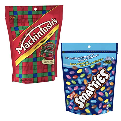 Generic Canadian candy snacks-Smarties chocolate candy from Canada + Macintosh candy toffee Bundle
