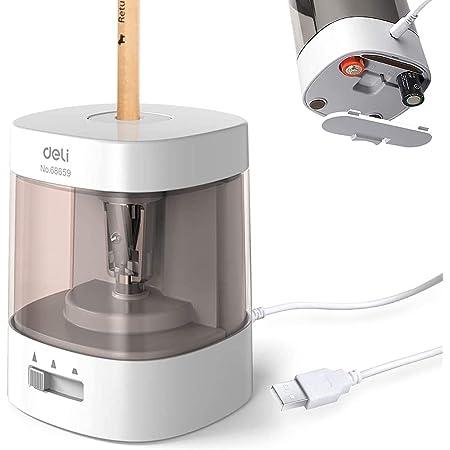 電動鉛筆削り 電動シャープナー 6-8mm鉛筆 乾電池/USB電源供給 デッサン鉛筆 小学生 色鉛筆 デッサン 美術 (ホワイト)