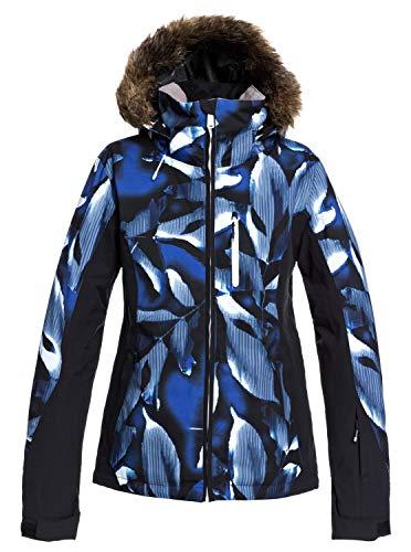 Roxy Jet Ski Premium-Chaqueta para Nieve para Mujer, Mazarine Blue Striped Leaves, L