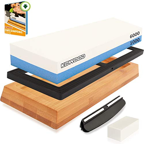 Professional Sharpening Stone Kit, 2 side Grit 1000/6000 Whetstone Knife set,...
