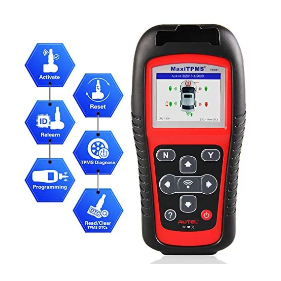 Autel MaxiTPMS TS501 TPMS Relearn Tool Automotive Scan Tool with Activate TPMS Sensors/TPMS Sensor Programming/Program… 1 【Upgraded Version of TS408, 2021 Newest】TS501 TPMS Tool can diagnose newest models up to 2020 with frequent updates. It packed ALL TPMS service options: TPMS programming(MX-Sensors), sensors Relearn/Activation, TPMS Reset and TPMS health diagnose, read sensor data, key fob frequency test. Please send VIN to : ❤Autelonline @outlook.com❤ CHECK COMPATIBILITY. 【TPMS Programming】 TS501 TPMS Programming Tool enables all car enthusiasts to program sensor data to Autel MX-Sensors with ease, saving you the money and trip to a dealership. With TS501, you can program AUTEL MX-Sensor (315/433MHz) with 4 programming options: Copy By Activation, Copy By Manual Input, Auto Create and Copy by OBD( Not available with TS408) to replace the faulty sensor with low battery life or one that is not functioning well. 【Relearn All TPMS Sensors】TS501 has added Relearn by OBD comparing with TS408. To turn off the TPMS warning light after replacement, you need to relearn the sensors to the vehicle! Autel TS501 TPMS Relearn Tool provides 3 ways of on-tool relearn precedures to relearn both OE and aftermarket sensors: Stationary Relearn, Automatic Relearn & OBD Relearn.