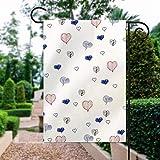 Keine Marke, doppelseitig, Premium-Fahne für den Frühling, Garten, lila, rosa, weiß, Herz-Dekoration, 30,5 x 45,7 cm, Hausflagge für Terrasse, Rasen, Außendekoration