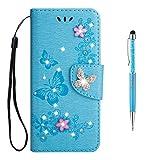 Grandoin Galaxy S9 Plus Hülle, Bling Glitzer Glitter Handyhülle im Brieftasche-Stil für Samsung Galaxy S9 Plus Handytasche PU Leder Ledercase Flip Tasche Wallet Tasche Handytasche Hülle (Blau)