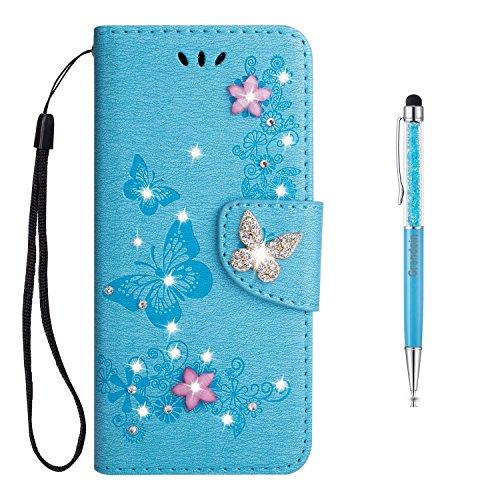 Grandoin Galaxy S9 Hülle, Bling Glitzer Glitter Handyhülle im Brieftasche-Stil für Samsung Galaxy S9 Handytasche PU Leder Ledercase Flip Tasche Wallet Tasche Handytasche Cover Case (Blau)