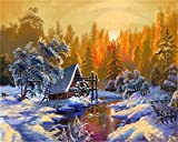 AOTAO Painting By Numbers Snow Mountain Kits Drawing Canvas HandPainted DIY Oil Pictures By Numbers Winter Scenery Home Decor(40x50cm 16x20inch)