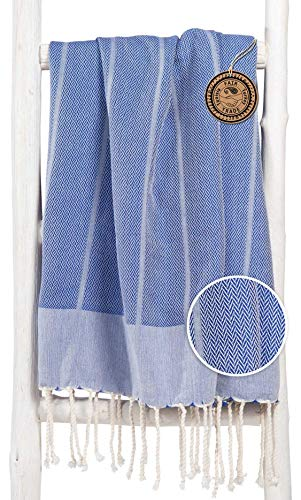 ZusenZomer Fouta Playa 100x190 - Toalla Hammam Lujoso Modelo - Muy Absorbente y Ligero - 100% Algodón con Motivo de Espigas - Foutas Comercio Justo (Azul)