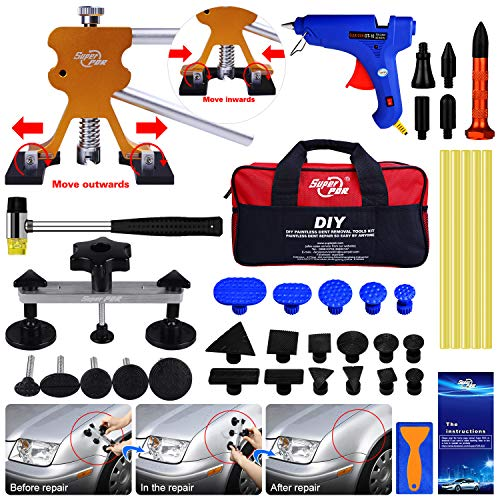 AUTOPDR 48pcs DIY Paintless Dent Removal Tool Kit for Automobile Body Motorcycle Refrigerator Washing Machine
