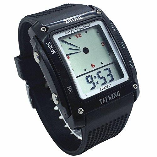 Nergo Reloj Parlante en Español para Ciegos, Niños, y Los Ancianos, Deportes Electrónicos Hablar Relojes Gatget Regalo (829TS-BLK)