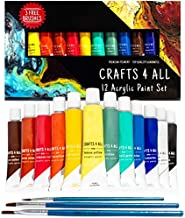 Crafts 4 All Acrylic Paint Set - 12 -Pack Painting Supplies for Canvas, Wood, Ceramic, Fabric - Non-Toxic, Acrylic Paints for Beginners and Professional Artists - Art Supplies