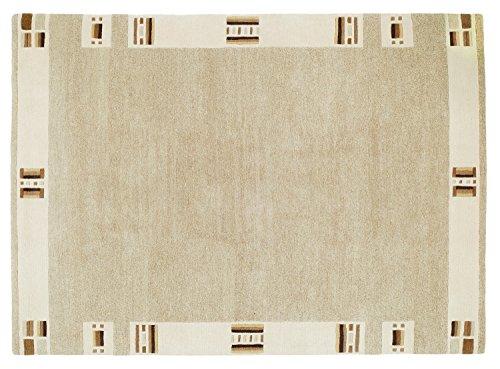 GIZMODO BORDER echter original handgeknüpfter Nepal Teppich in cappu-mix, Größe: 70x140 cm