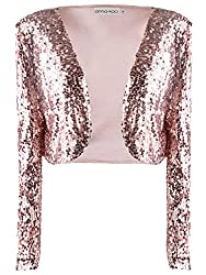 Rose Gold Sequin Long Sleeve Cropped Blazer Bolero Shrug