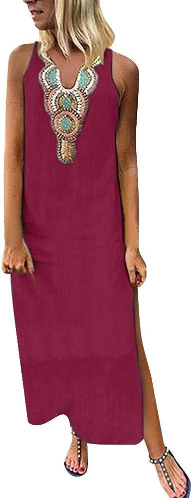 Summer Dresses For Women Clearance/'s Printed Sleeveless V-neck Maxi Dress Split Hem Baggy Kaftan Long Dress For Anniversary,Party,Valentines Day Khaki,S